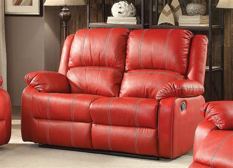 red reclining loveseat zimra contemporary reclining loveseat in red faux leather