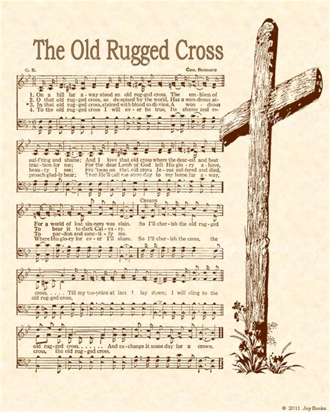 Story The Rugged Cross the rugged cross christian heritage hymn sheet vintage style parchment