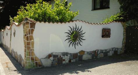 gartenmauer gestalten bilder mosaikillusionsmalereikeramik