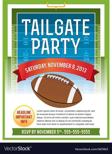 American Football Tailgate Party Flyer Royalty Free Vector Free Tailgate Flyer Template