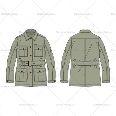 military pattern cdr men s military green field jacket fashion flat template