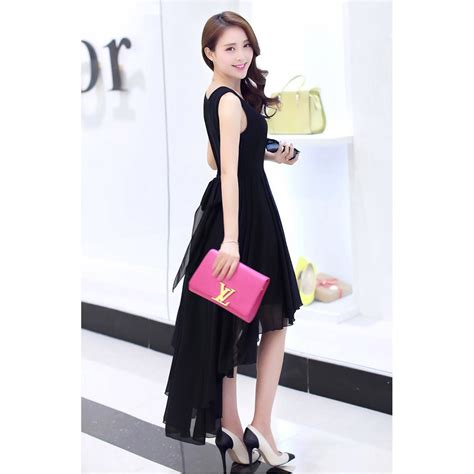 Dress Pakaian Terusan Wanita Black Dress Chiffon L 318849 dress wanita chiffon dovetail style size s black jakartanotebook