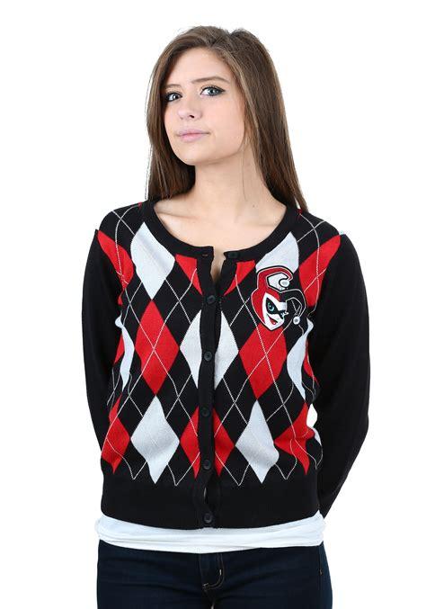 Raglan Harley Quinn womens harley quinn cardigan sweater