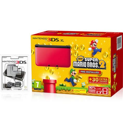 mario console nintendo 3ds xl black new mario bros 2