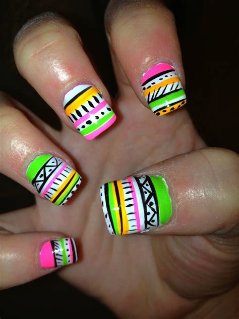 neon pattern nails neon tribal nails design cute for summer nails