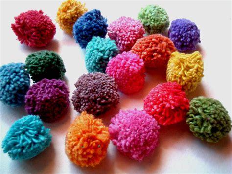 Handmade Pom Poms - rainbow pom poms yarn pom pom cotton yarn balls