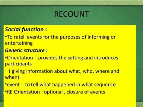 biography recount generic structure genre for junior high