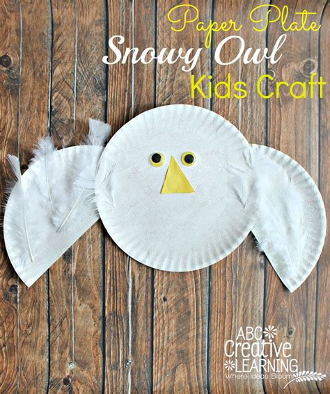 Owl Paper Plate Craft - paper plate snowy owl craft
