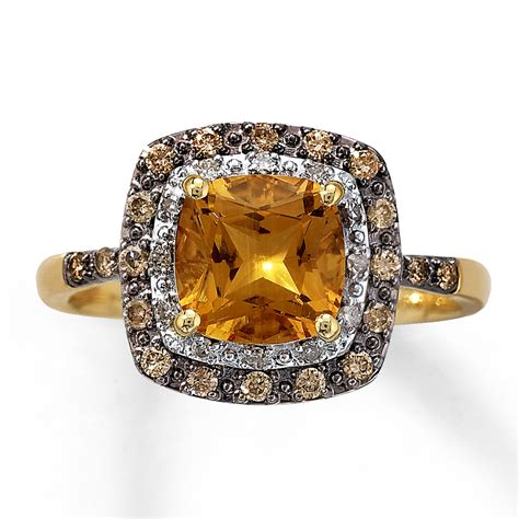 citrine ring 1 4 ct tw diamonds 10k yellow gold