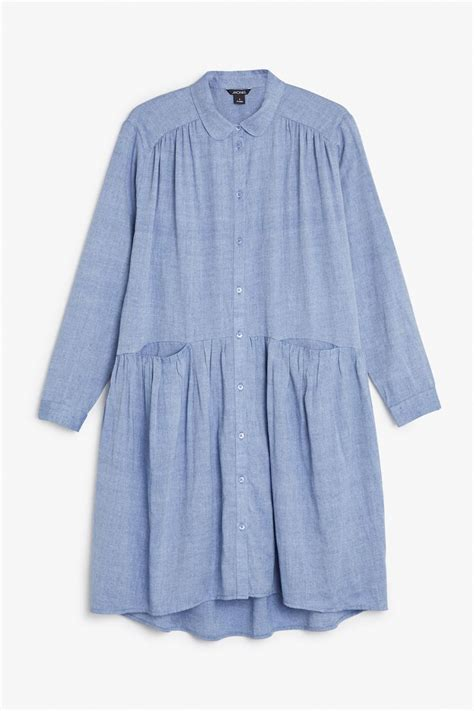 monki image 1 of button up dress in blue light just