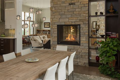 Fireplace Between Dining Room And Living Room Dineen Residence Contemporary Dining Room Denver