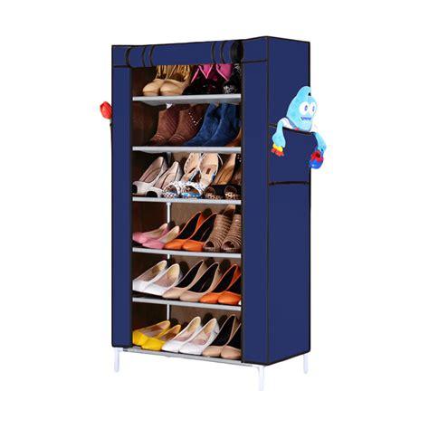 Jual Rak Sepatu Cover jual nine box rak sepatu biru 7 cover 6 tingkat