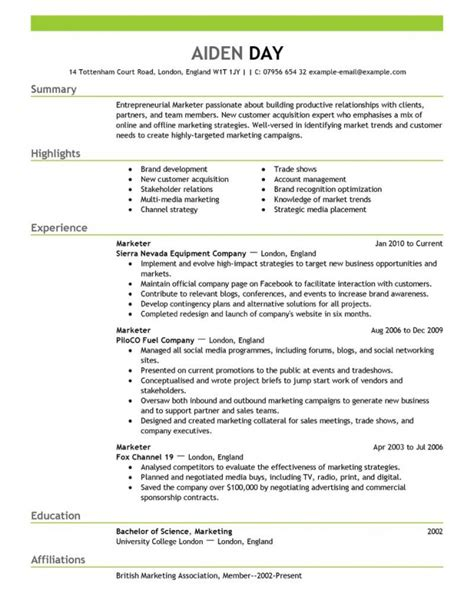 sle marketing cv template marketing resume template