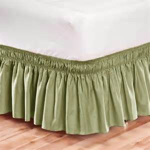 Bed Wrap Valance Elastic Bed Skirt Dust Ruffle Easy Fit Wrap Around Sage