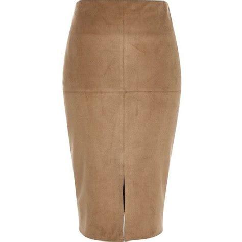 lavish lavish pencil skirt with knot front simple river island brown faux suede split front pencil skirt