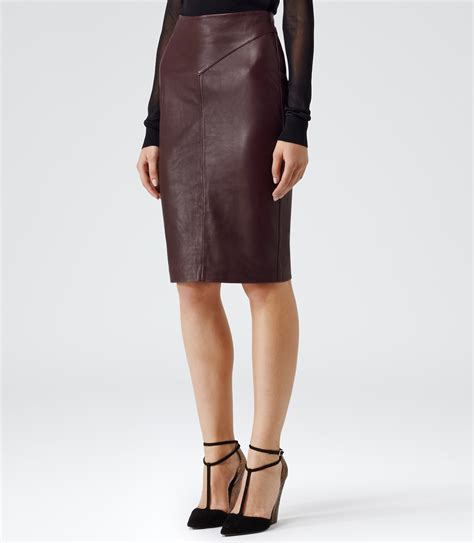 reiss shannon leather pencil skirt in lyst