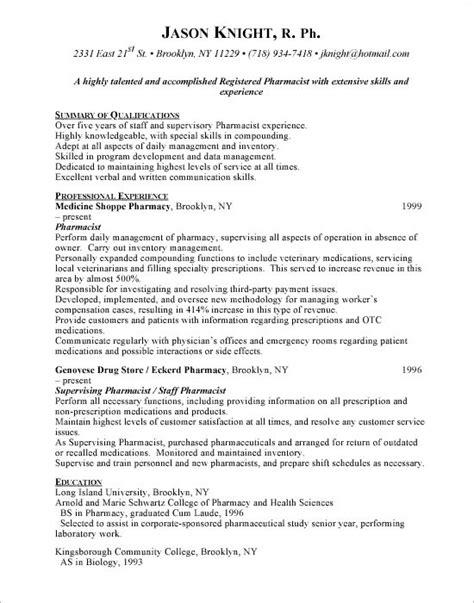 Pharmacist Resume by Hospital Pharmacist Resume Sle Http Www