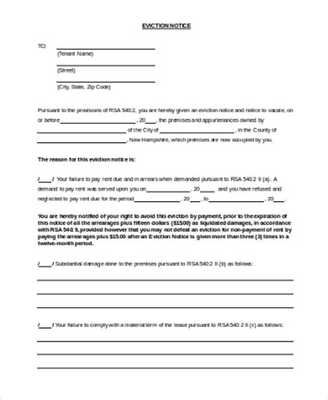 printable eviction notice form 7 free documents in word