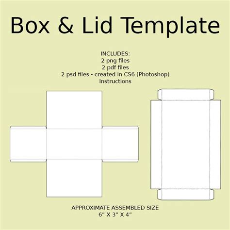 Digital Rectangle Box Lid Templates Download Png Psd Box With Lid Templates Free