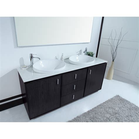 Cheshire 72 inch Modern Double Sink Vanity Faux Marble Top