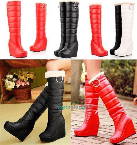 Australia Boots Winter Platform Wedge Heels Knee High Boot Import s platform wedge winter boots fur lining mid calf knee high boots ebay