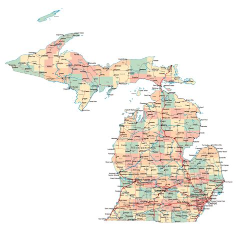 map of major cities large administrative map of michigan state with highways