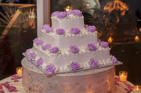 Wedding Cake Purple Flowers   One Of Long Island's Best