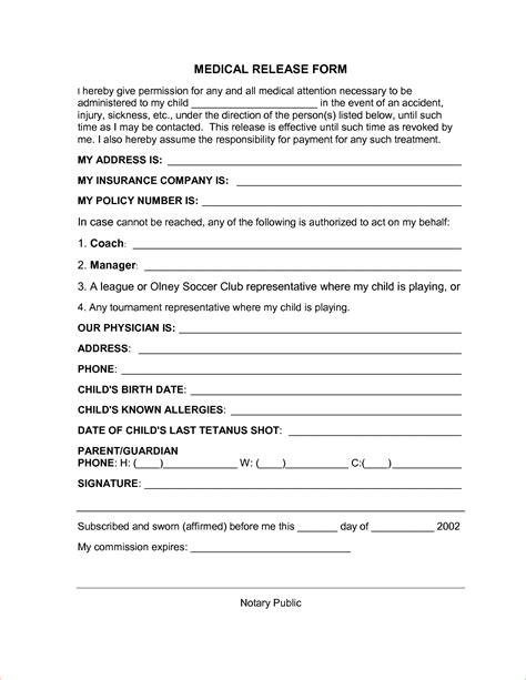 medical release form 8 free printable forms memo formats