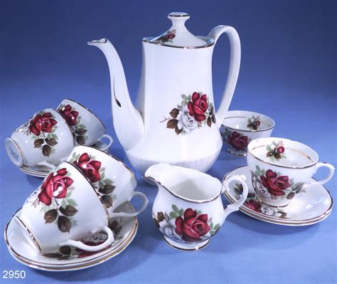 The Coffee Set bone china and white roses 13 vintage