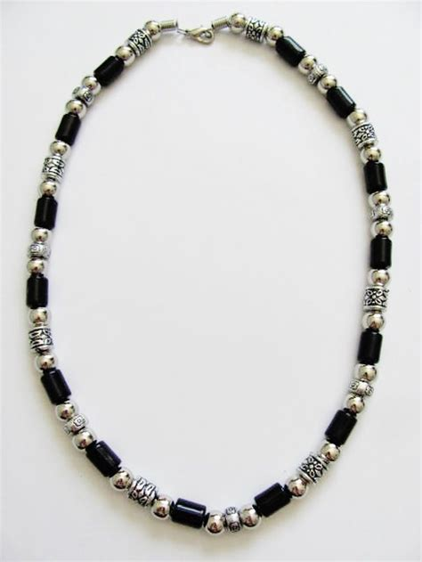 mens jewelry vintage style chrome black surfer beaded necklace s