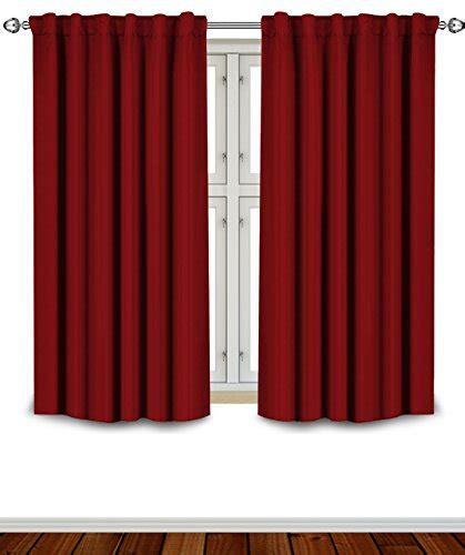 Burgundy Color Curtains Blackout Room Darkening Curtains Window Panel Drapes Burgundy Color 2 Panel Set 52 Inch Wide