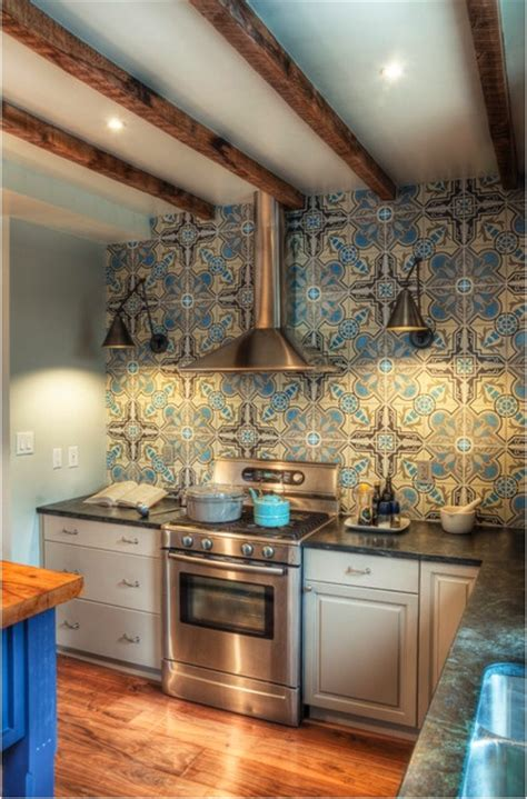 cool cement tile backsplash galley kitchen reno