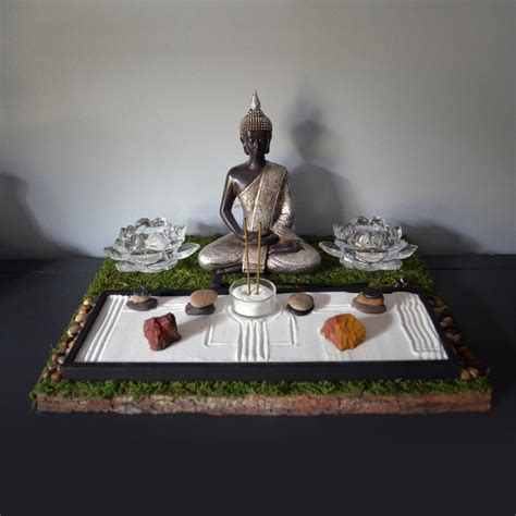 meditating buddha statue buddhist altar table shrine