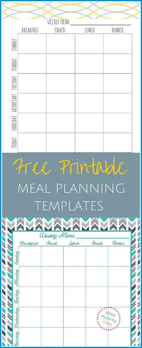 monthly meal planner template the best menu planning templates ideas