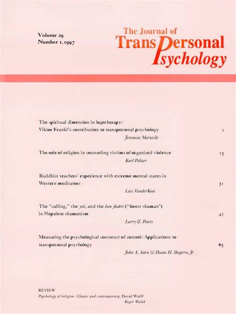 participation and the mystery transpersonal essays in psychology education and religion books the journal of transpersonal psychology vol 29 1 1997
