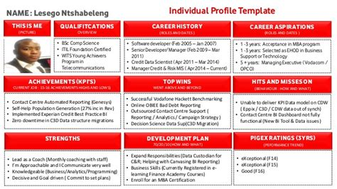talent profile template individual talent profile template