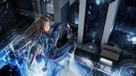 artwork fantasy art anime girls futuristic city anime