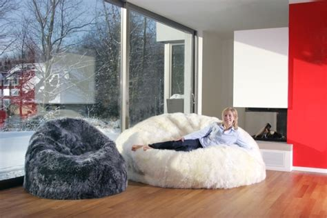 living room bean bags these sheepskin bean bags level up sophistication for the