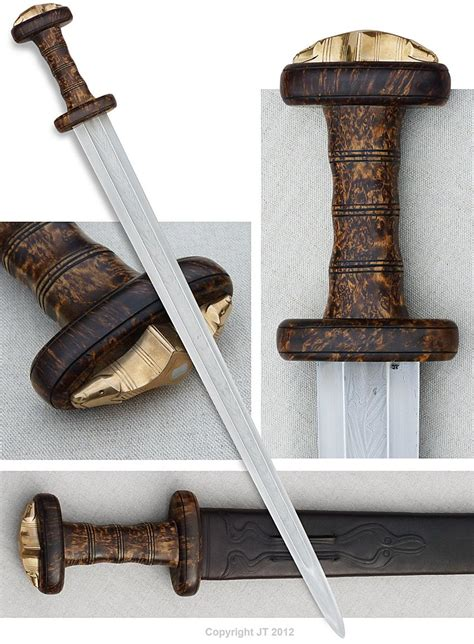 pattern welding bronze quot late roman era spatha with the hilt made mostly of wood