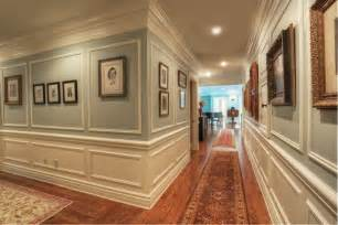 Decorate hallway using classic crown molding ideas with vintage wood