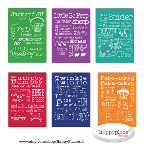 printable nursery poster 6 nursery rhyme printable wall art print set digital
