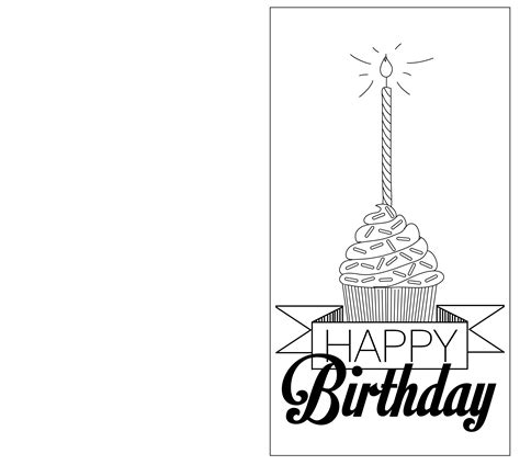 Printable Birthday Cards Black And White | 6 best images of printable folding birthday cards