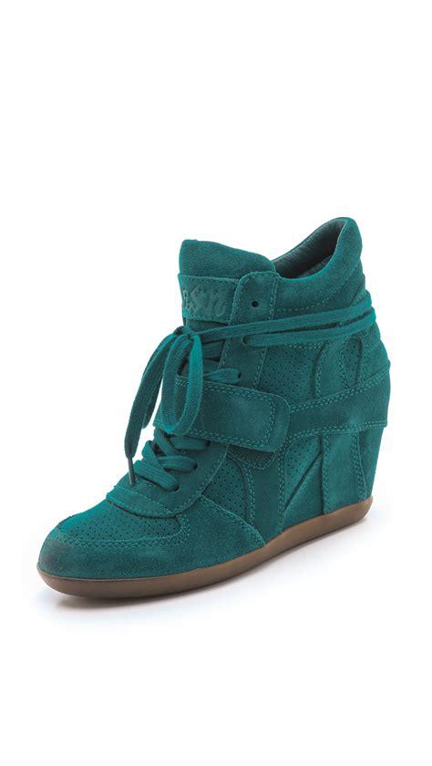 ash wedge sneaker ash bowie wedge sneakers in green teal lyst