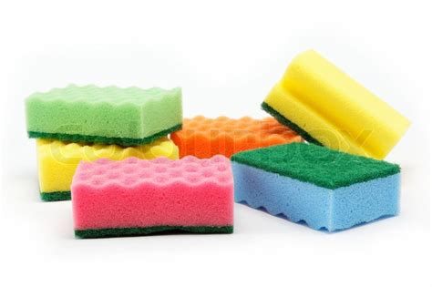 Cleaning Sponge cleaning sponges on a white background stock photo