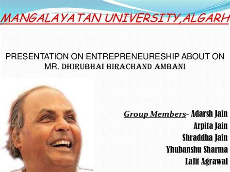 Dhirubhai Ambani Mba College by Entrepreneurial Analysis Of Dhirubhai Ambani