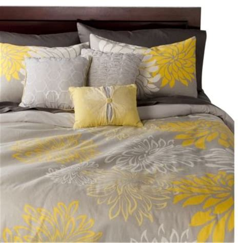 Target Grey Bedding by Anya 6 Floral Print Duvet Cover Set Gray Yellow A