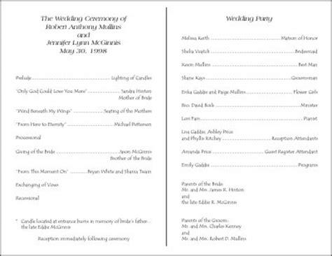 exles of wedding programs templates wedding program exle invitationsflash wedding program