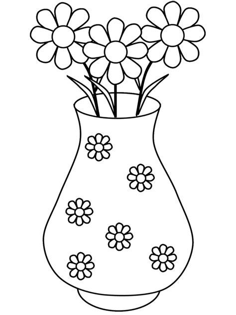 vaso di fiori da colorare sta disegno di vaso di margherite da colorare