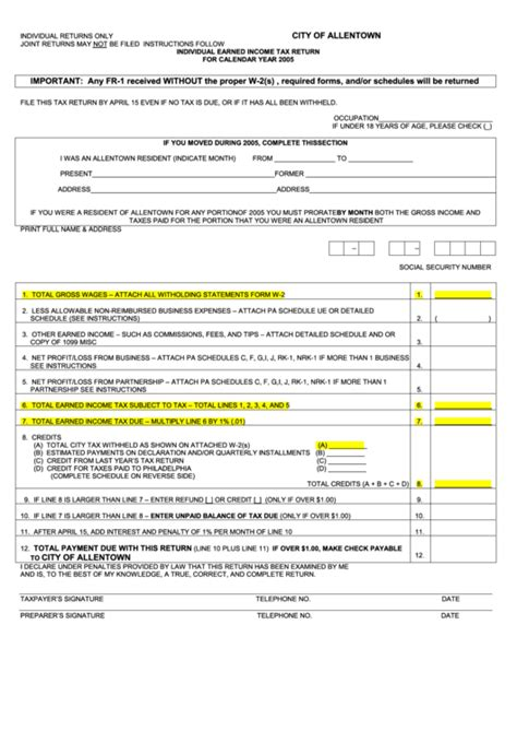 printable pa schedule ue form fr 1 individual earned income tax return 2005