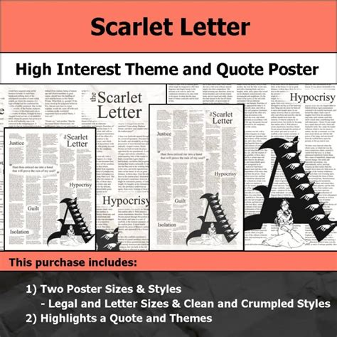 scarlet letter chapter 6 themes visual theme quote posters